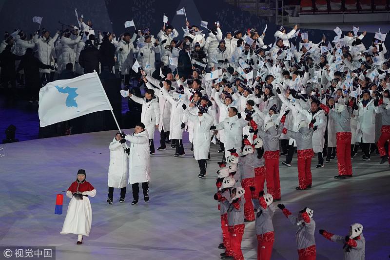 朝鲜媒体聚焦平昌冬奥会开幕式朝韩共举朝鲜半岛旗入场场面