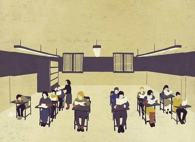 女孩上课举手简笔画