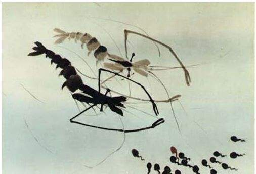 水墨画法应用于动画,动物造型均来自国画大师齐白石笔下的鱼虾等形象