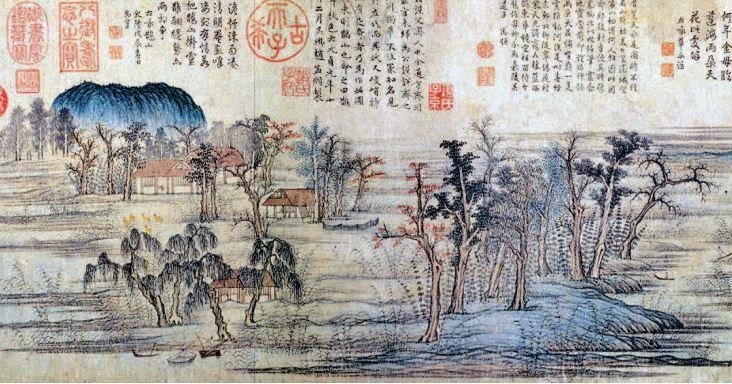 现身《延禧攻略》的赵孟頫《鹊华秋色图》(局部).