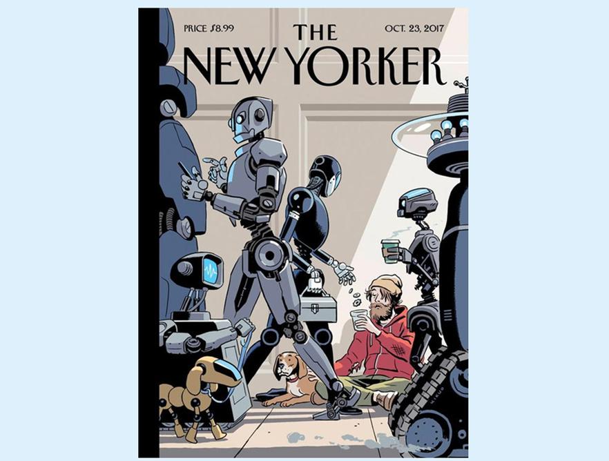 2017年《纽约客》杂志封面漫画对AI问题也提出了广泛的关注《黑暗工厂:欢迎来到未来机器人帝国》_副本.jpg