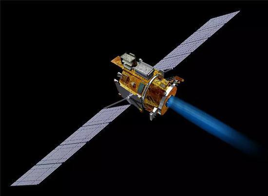(深空一号探测器正在工作,从尾部射出的就是离子发动机产生的氙离子流。图片来源 Wikipedia)