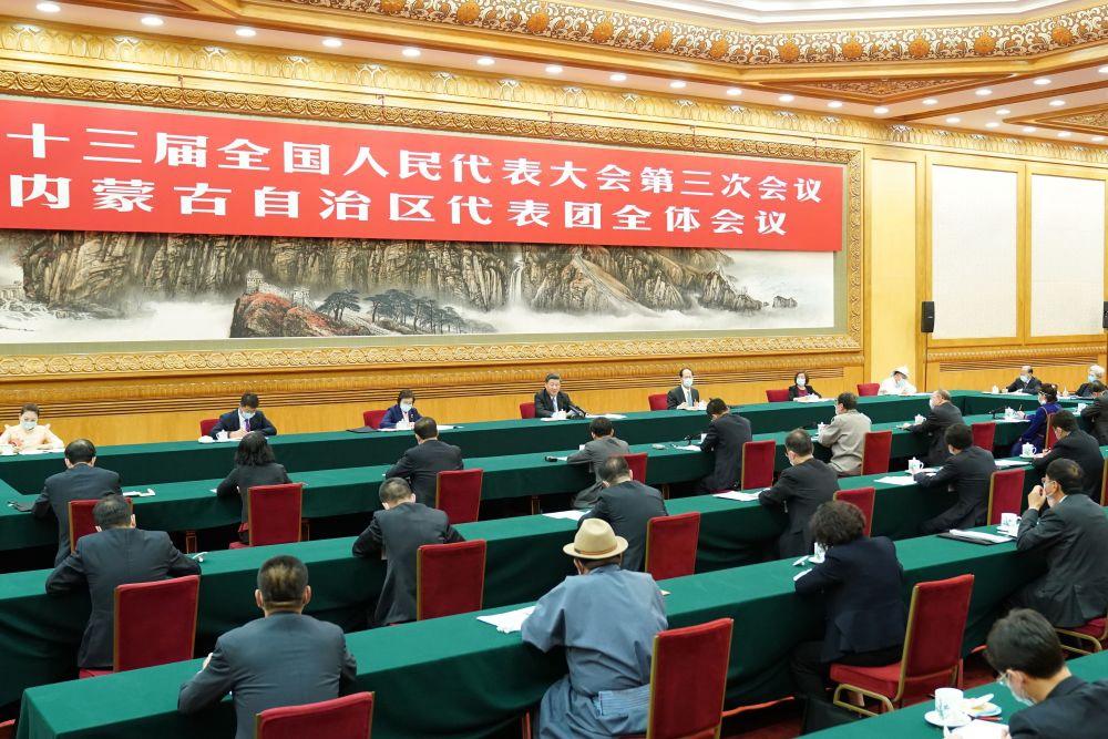2020年5月22日,习近平参加十三届全国人大三次会议内蒙古代表团的审议。新华社记者 黄敬文 摄