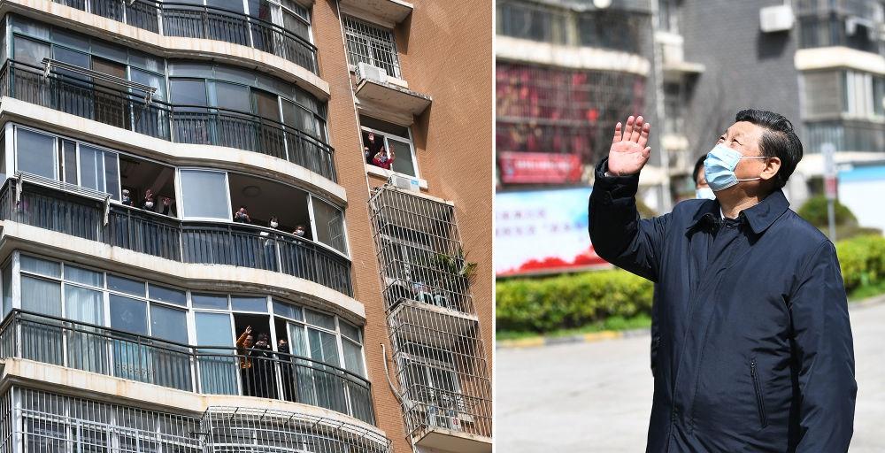 2020年3月10日,习近平在湖北省武汉市东湖新城社区考察时,向在家隔离居住的居民挥手致意、表示慰问(拼版照片)。新华社记者 谢环驰 摄