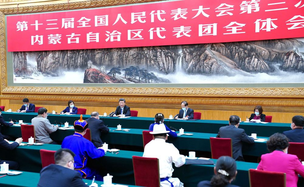 2020年5月22日,习近平参加十三届全国人大三次会议内蒙古代表团的审议。新华社记者 谢环驰 摄