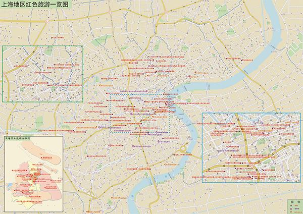 上海的红色革命纪念地基本是成片成区的。上海师范大学都市文化研究中心制图